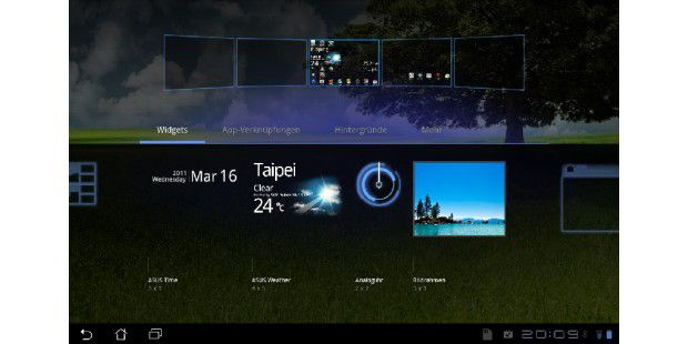 Asus hat eigene Widgets für die Startbildschirmeprogrammiert.