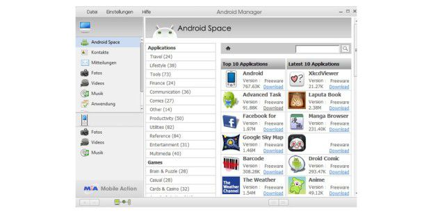 Der Android Manager Wifi ist eine praktische Verwaltungssoftware, welche das Smartphone per WLAN steuern kann.