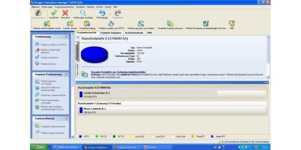 Paragon Festplatten Manager 2010 Suite: Rundum-Lösung für die Verwaltung von Festplatten