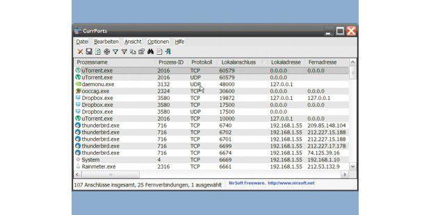 """Obwohl das Programm Currports ein Programm entdeckt hat,das einen """"Dynamic Port"""" geöffnet hat, bedeutet das in diesem Fallnichts Schlimmes. Hier nutzt das Tauschprogramm µTorrent diesenPort zum Datenverkehr."""
