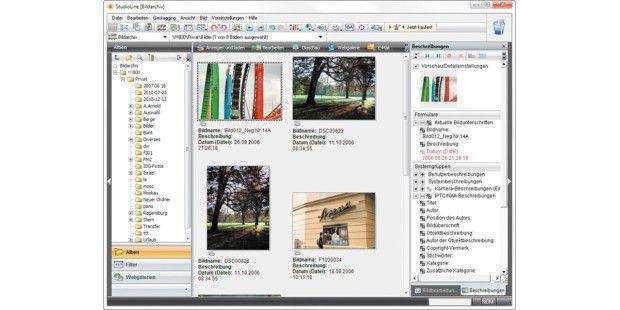 Die Fotos erscheinen in Studio Line Photo Basic wie ineiner gewöhnlichen Bildverwaltung. Es sind aber nurVorschaubildchen. Die echten Bilddateien sind etwa auf einerexternen Festplatte gespeichert, die im Schrank liegt.