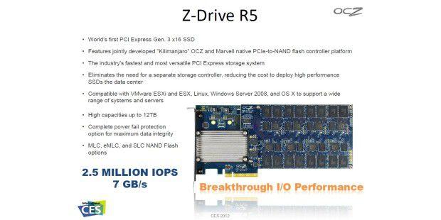 Soll in neue Tempobereiche vordringen: OCZ Z-Drive R5 mitPCI Express 3.0