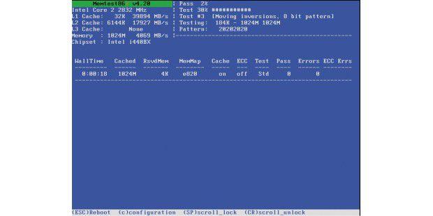 Das Programm Memtest86 untersucht den Hauptspeicher inIhrem Computer auf Fehler.