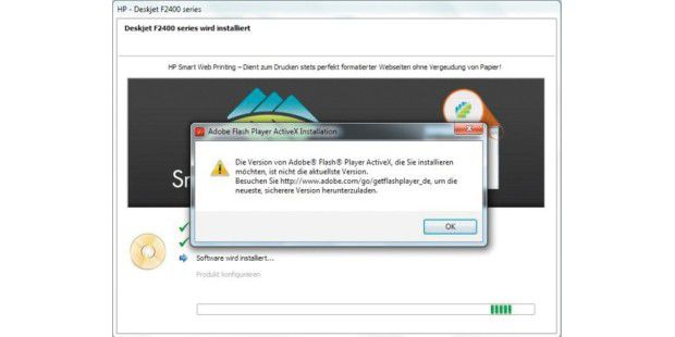 Das HP Solution Center macht Probleme wegen einer veralteten Version von Adobes Flash Player.