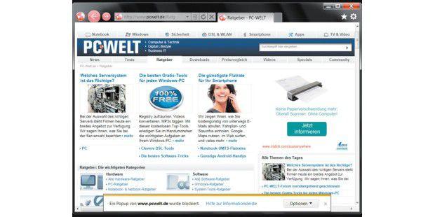 """In der """"Kompatibilitätsansicht"""" zeigt der InternetExplorer auch komplexe Internetseiten korrekt an."""