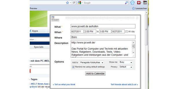 Firefox-Erweiterung add.2.cal