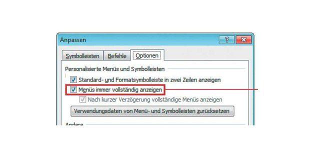Mit dieser Option schalten Sie bei Office XP und 2003 die Anzeige der kompletten Menüs ein.