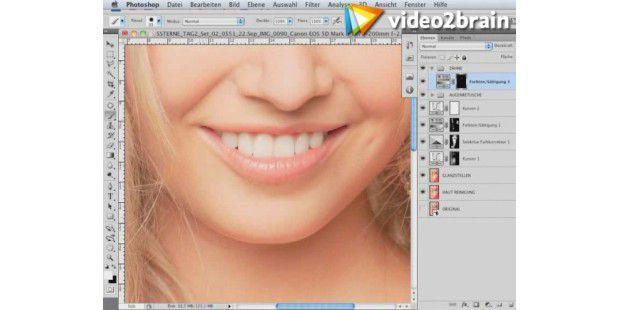 Weißere Zähne mit Photoshop