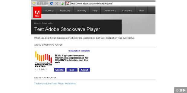 Shockwave Player Testseite