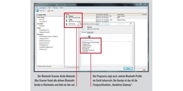 Das Programm zeigt auch, welche Bluetooth-Profile einGerät beherrscht.