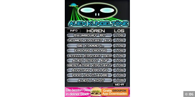 "iPhone-App ""Alien Klingeltöne"""