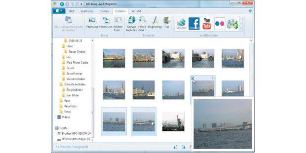 """Im Menüband """"Erstellen"""" starten Sie die Montage dermarkierten Bilder mit einem Klick auf """"Panorama"""". Wenn Sie denMauszeiger über einem Bild positionieren, erscheint einevergrößerte Vorschau, und Sie können es mit einem Klick insAuswahlkästchen markieren."""