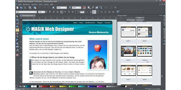 Die vom rechten Rand her ausklappbare Design-Galerie imWeb Designer 7 Premium bietet Zugriff auf Dutzendeindividualisierbarer Vorlagen, sowohl für komplette Websites alsauch für einzelne Elemente