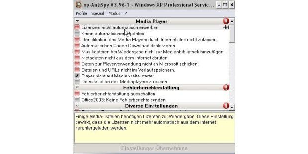 Platz 100: XP AntiSpy