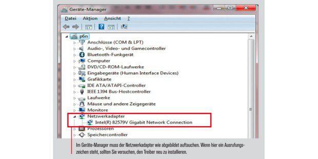 Im Geräte-Manager muss der Netzwerkadapter wie abgebildetauftauchen.