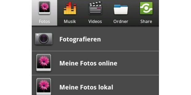 Foto-Bereich der Android-Mediencenter-App