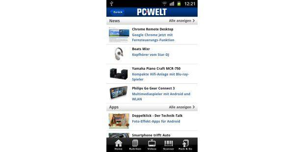 Startseite der PC-WELT Android-App