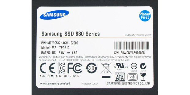 Label der Samsung 830 512GB