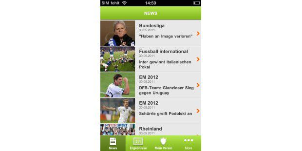 "iPhone-App ""Fussball.de"""
