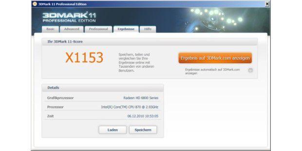 Ergebnis der Grafikkarte Asus EAH6850 DirectCU im 3D Mark11 mit den Extreme-Voreinstellungen