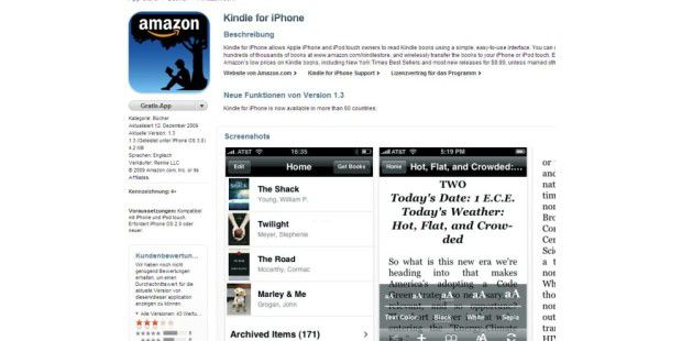 Amazons Kindle fürs iPhone angetestet
