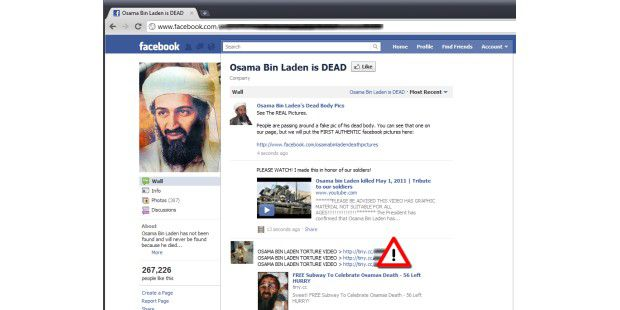 Bin Laden als Köder in Facebook