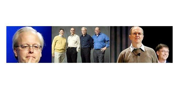 Ganz links: Software Engineer Ray Ozzie. Mitte: Bill Gates, Craig Mundie, Ray Ozzie, Steve Ballmer. Ganz rechts: Craig Mundie.
