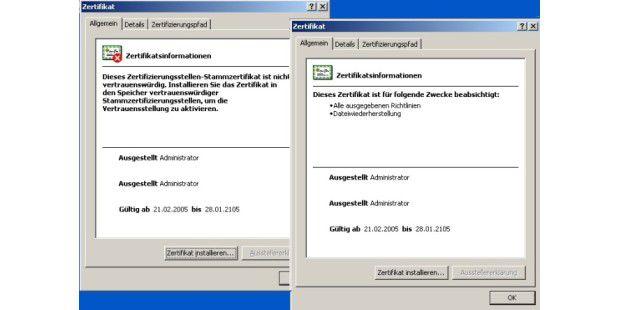 Zertifikat EFS