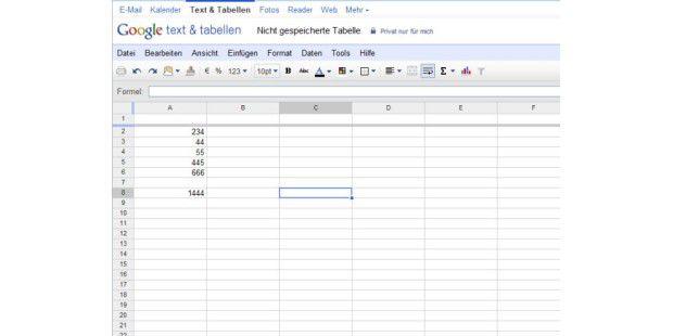 Startbildschirm von Google Tabellen