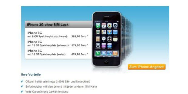 Blau.de: iPhone 3G ohne Sim-Lock
