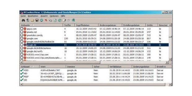 Das Tool IECookiesView 1.74 hilft beim Aufspüren von verschlüsslten Cookies.