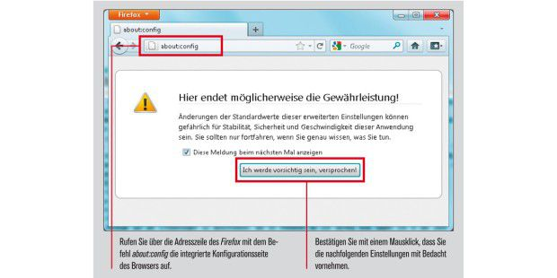Die Konfiguration in Firefox ändern.