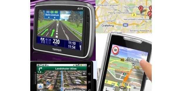 Viele Wege führen zur perfekten Navigation (Foto: GoogleMaps, Maps Navigation auf dem Motorola Milestone, TomTom, NavigonMobileNavigator