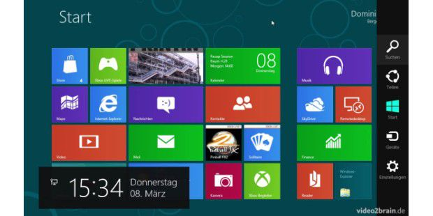 Charms-Bar von Windows 8 vorgestellt