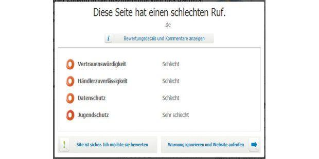 Die Browser-Erweiterung Web of Trust – WOT warnt vorunseriösen Seiten.