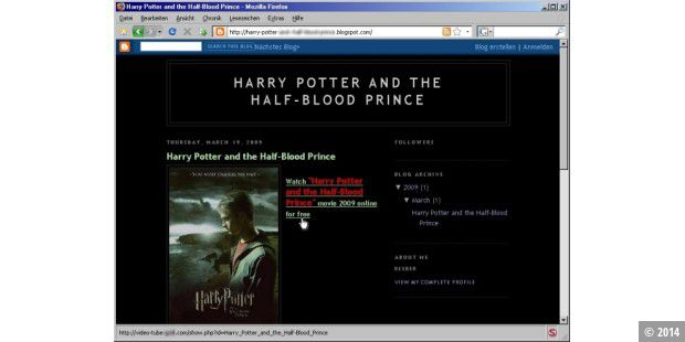 Harry-Potter-Blog mit Malware