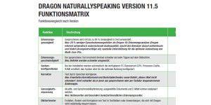 Dragon NaturallySpeaking: Funktionenvergleich