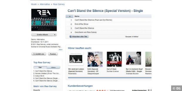"Nur heute im iTunes Store gratis: Die Single ""Can´t Stand the Silence"""