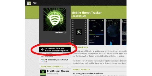 Lookout Mobile Threat Tracker lässt sich nicht auf unseremAndroid-Tablet installieren