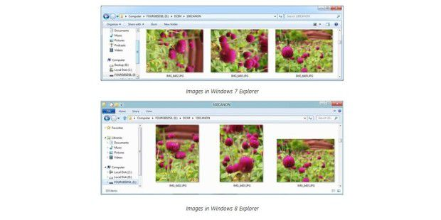 Bilder-Anzeige Windows 7 vs. Windows 8
