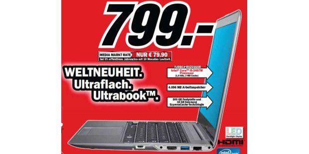 Weltneuheit bei Media-Markt? Das erste Ultrabook ist das Samsung Serie 5 nicht, aber eine der ersten CES-Neuheiten, die es hier zu kaufen gibt.