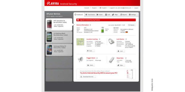 Avira Free Android Security Web-Konsole