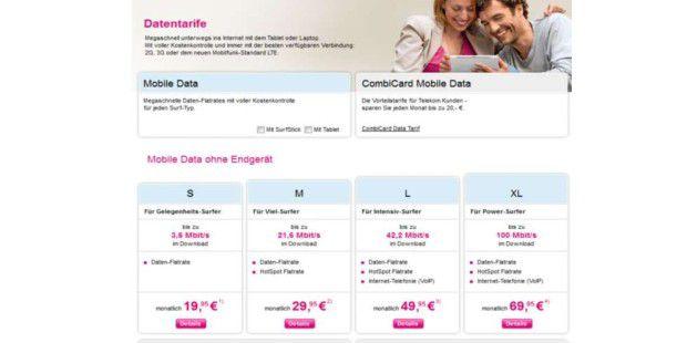 Die Telekom bringt neue Datentarife für Tablets & Notebooks. Optional lassen sich Surfsticks für Notebooks oder Tablets dazu buchen.