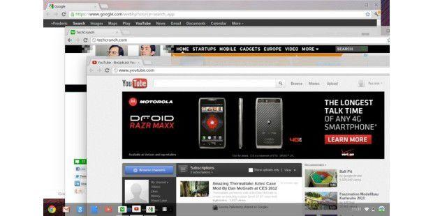 """Das """"neue"""" Chrome OS mit Window Manager undTask-Leiste"""