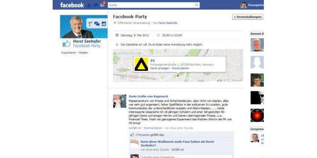 Host Seehofer hatte zur Facebook-Party geladen