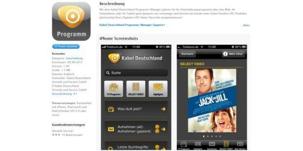 App: Kabel Deutschland Programm-Manager