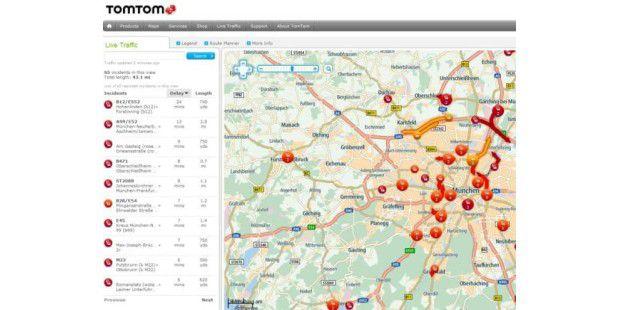 Die Verkehrslageinformationen und den Routenplaner von TomTom kann man auch im Browser nutzen