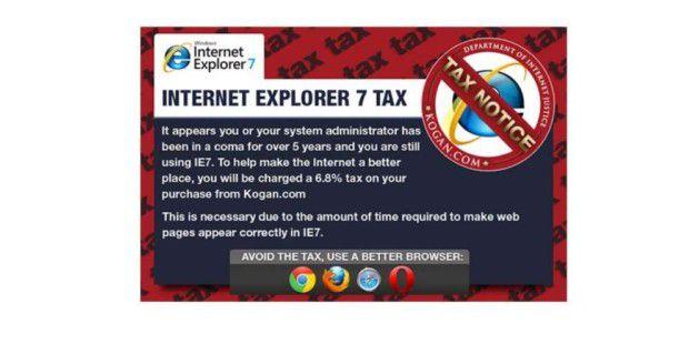 Online-Shop verlangt IE7-Steuer