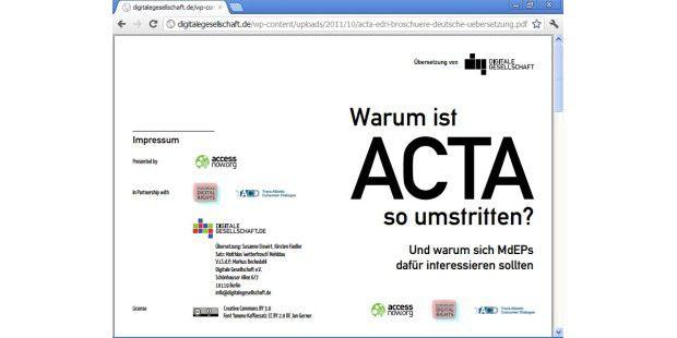 Der Gesetzentwurf zu ACTA rief zahlreiche empörteEntgegnungen hervor.