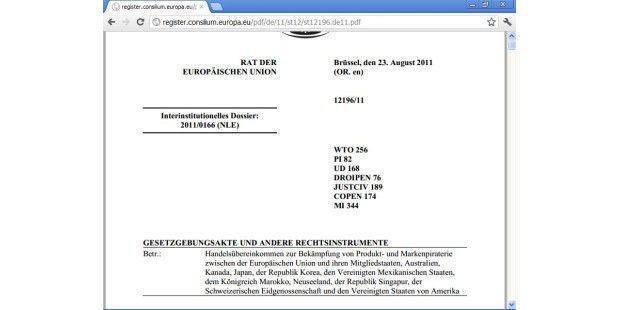 ACTA ist ein – weltweit noch nicht ratifiziertes –Handelsabkommen zur Bekämpfung vonUrheberrechtsverletzungen.
